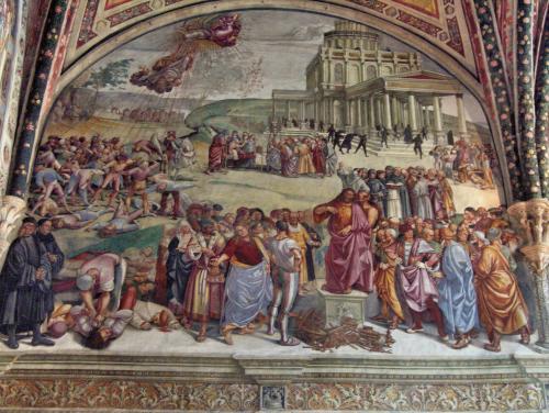 Predicación del Anticristo por Luca Signorelli en la capilla de San Bricio en la Catedral de Orvieto